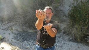 Greg sifting sediment during a coastal county trip.