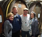 L to R, Deanna and Mick Wilson, Gus and his wife Toni, in a 600 year old cellar in Alsace, France.